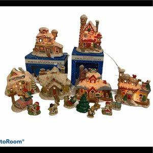 Large Porcelain Christmas Santa village lot